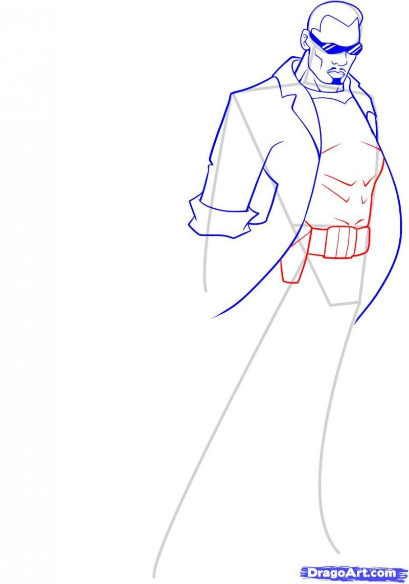 How to draw the person Hellboya with a pencil step by step 8