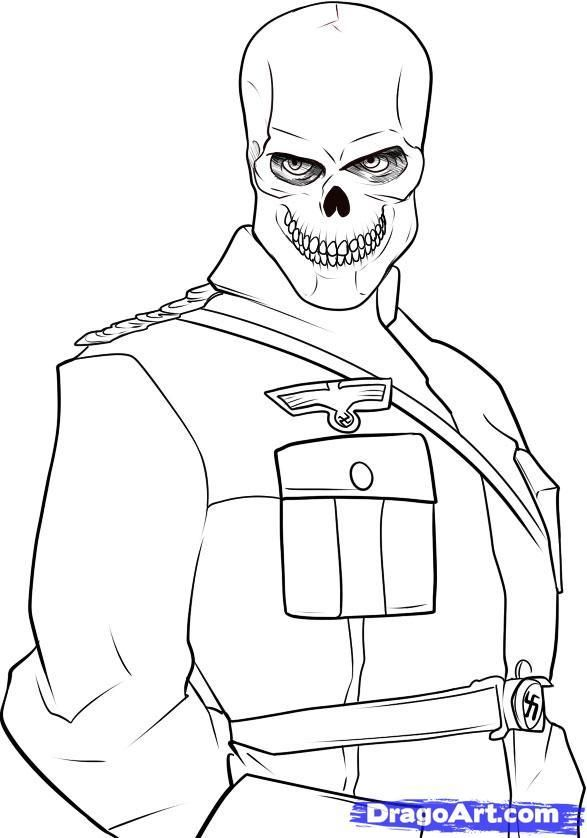 How to draw the Red Skull from the Captain America with a pencil