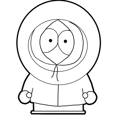 How to draw Kenny from South Park with a pencil step by step
