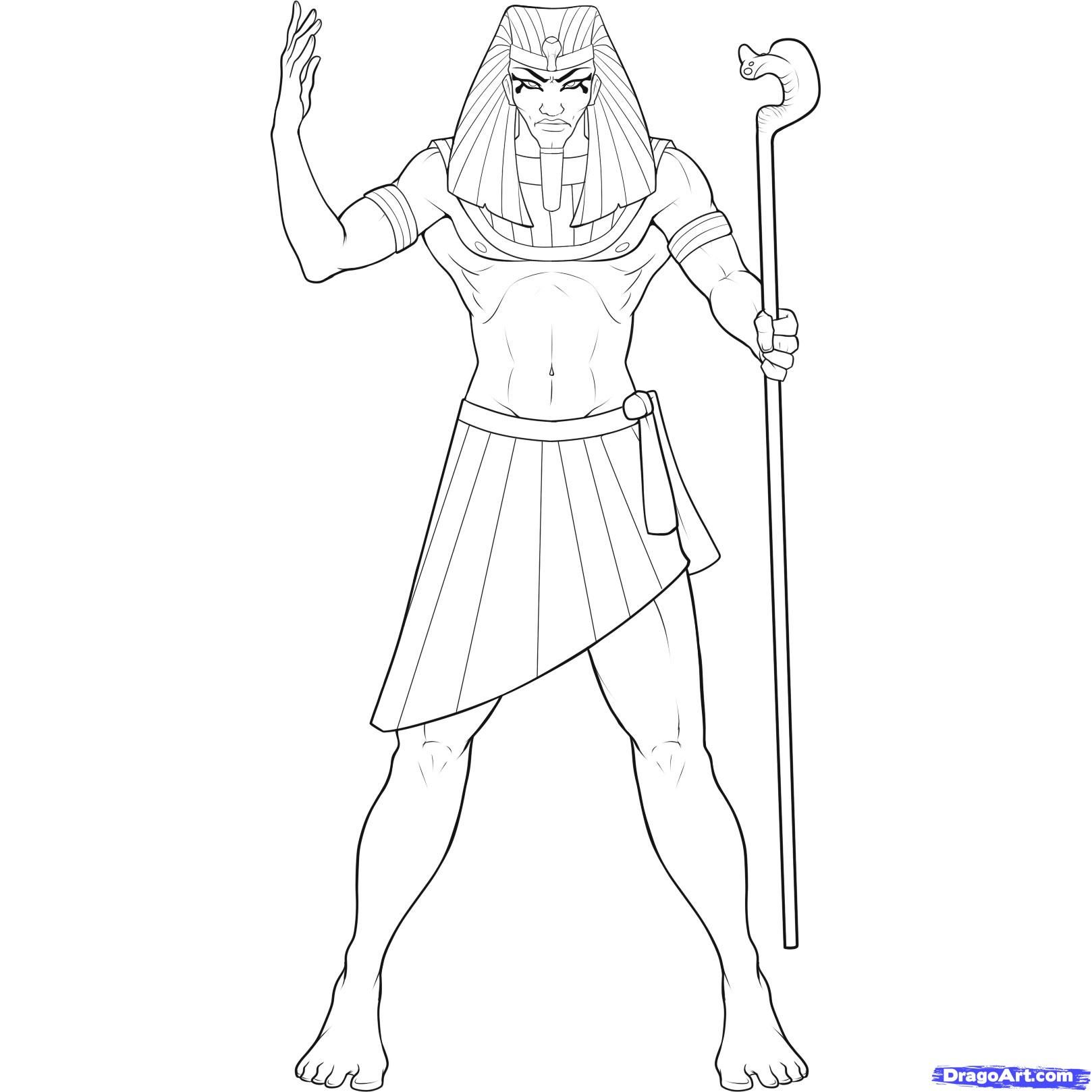 How to draw the Pharaoh with a pencil step by step