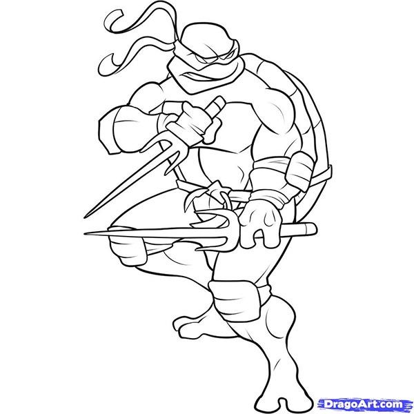 How to draw Raphael with a pencil step by step