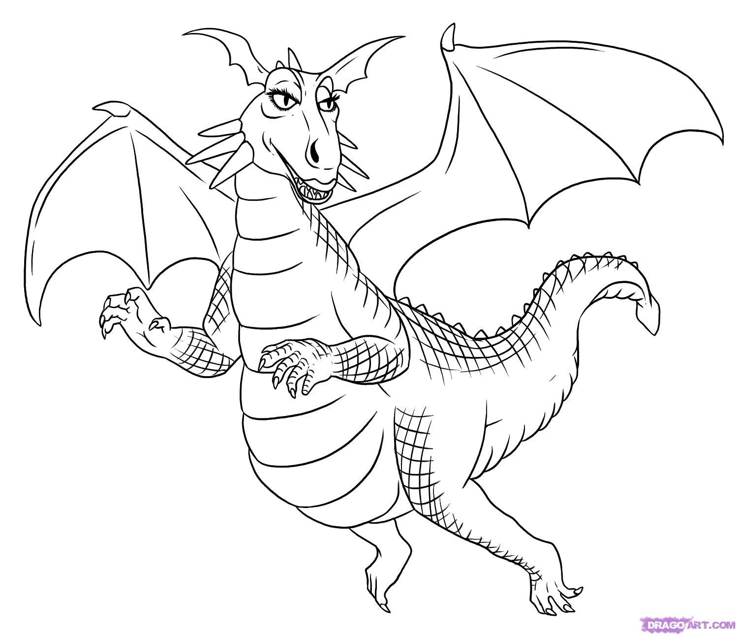 How to draw the Dragon from a mult-m Shrek with a pencil step by step