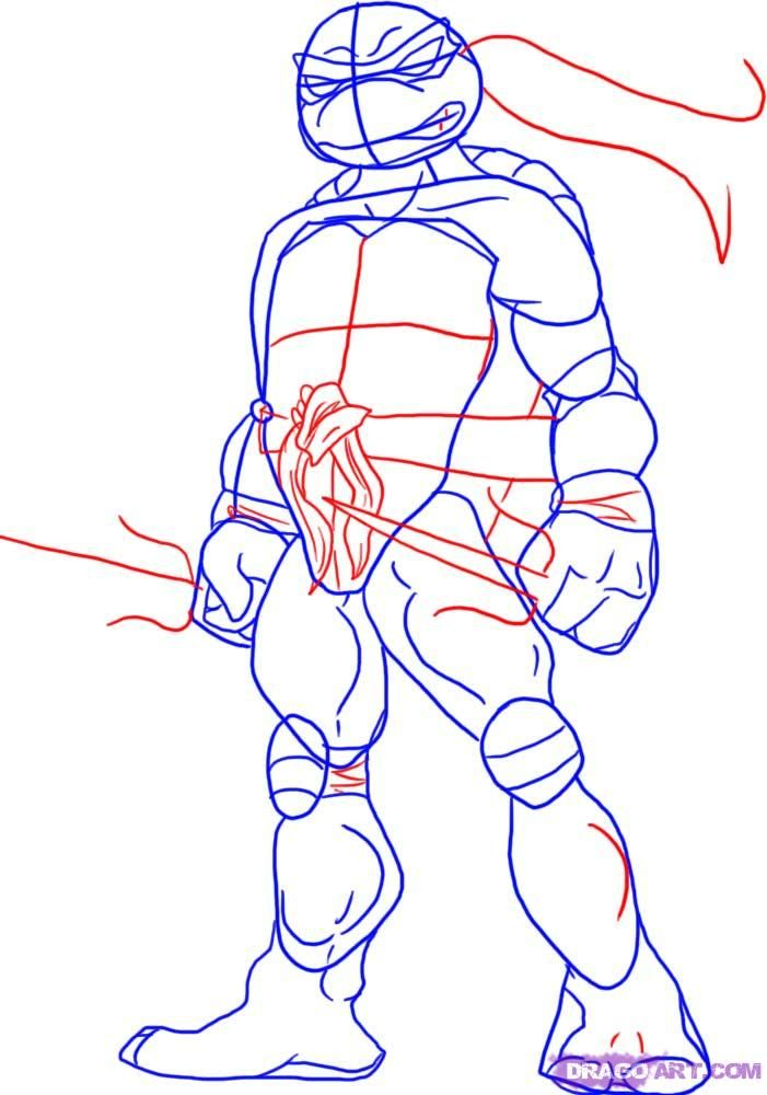 How to draw Shredder with a pencil step by step 4