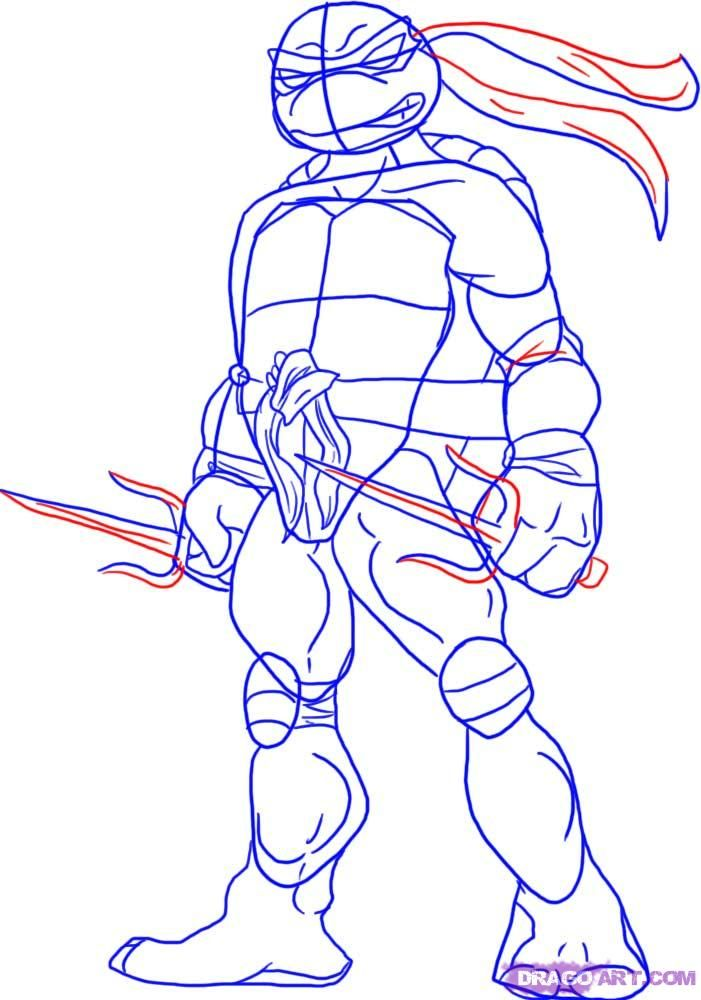 How to draw Shredder with a pencil step by step 5