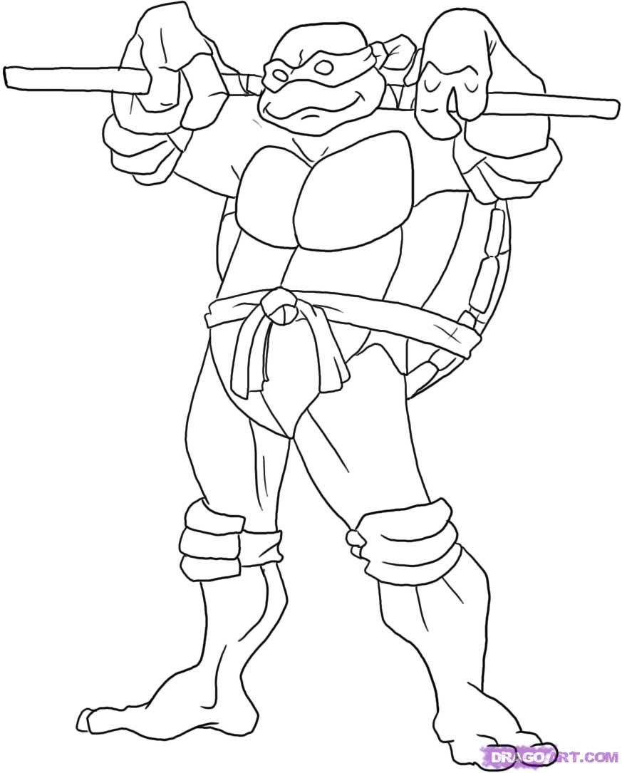 How to draw Donatello from Cherepashek-Nindzya with a pencil step by step