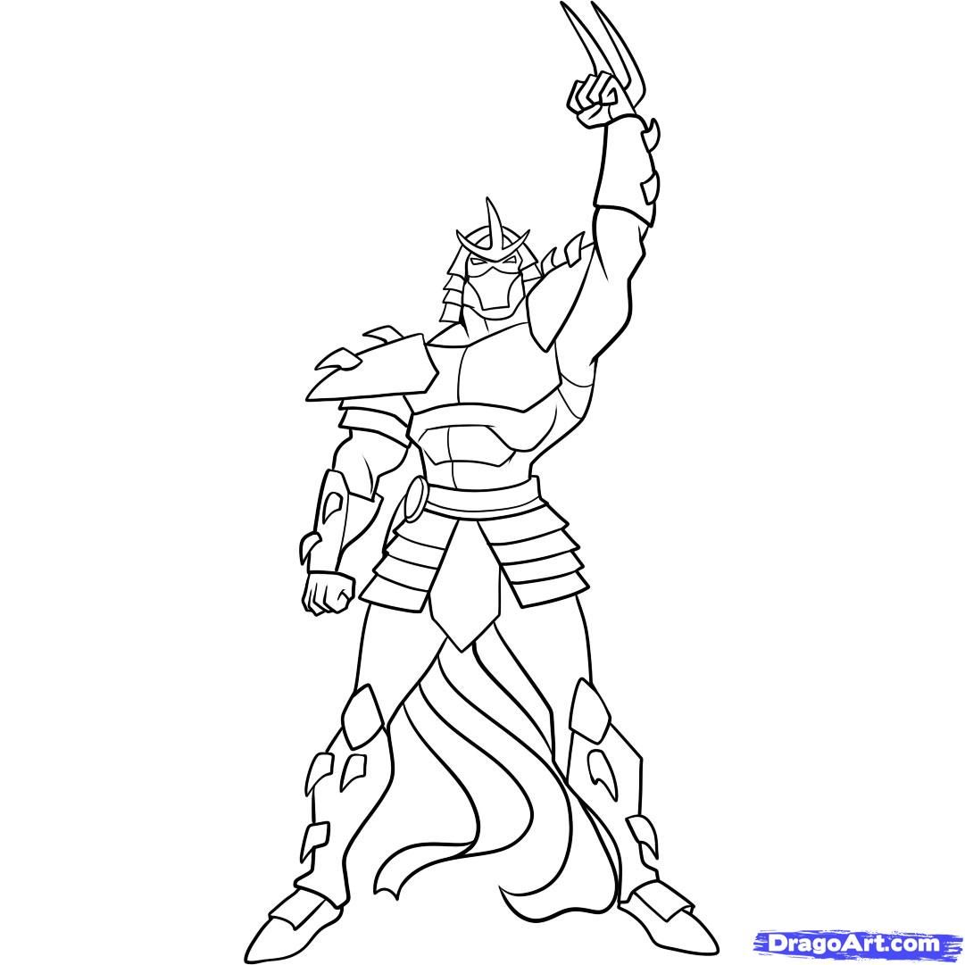 How to draw Shredder with a pencil step by step