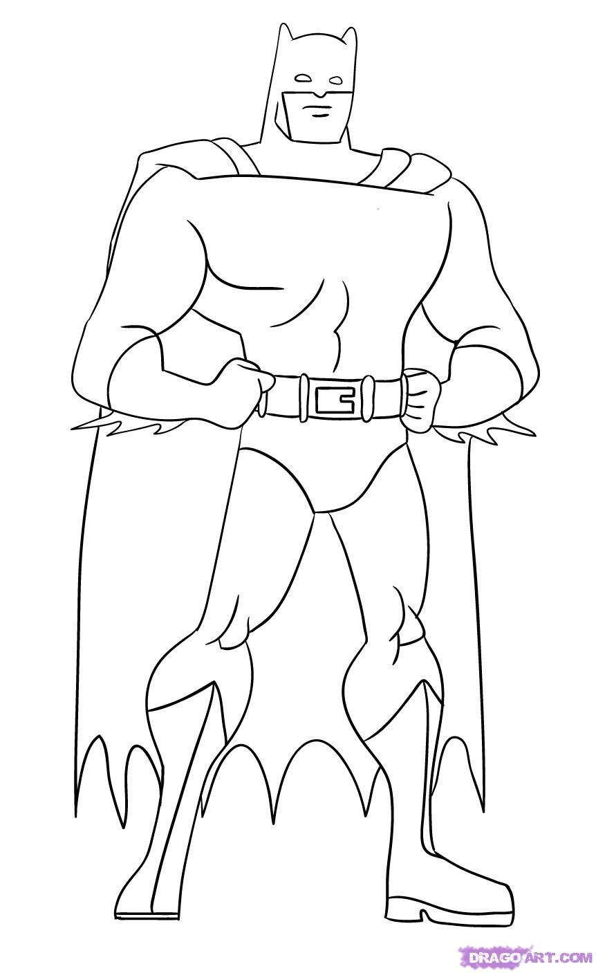 How to draw the Batman with a pencil step by step