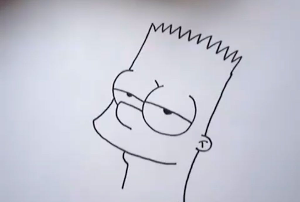 How quickly to draw Bart Simpson's head step by step