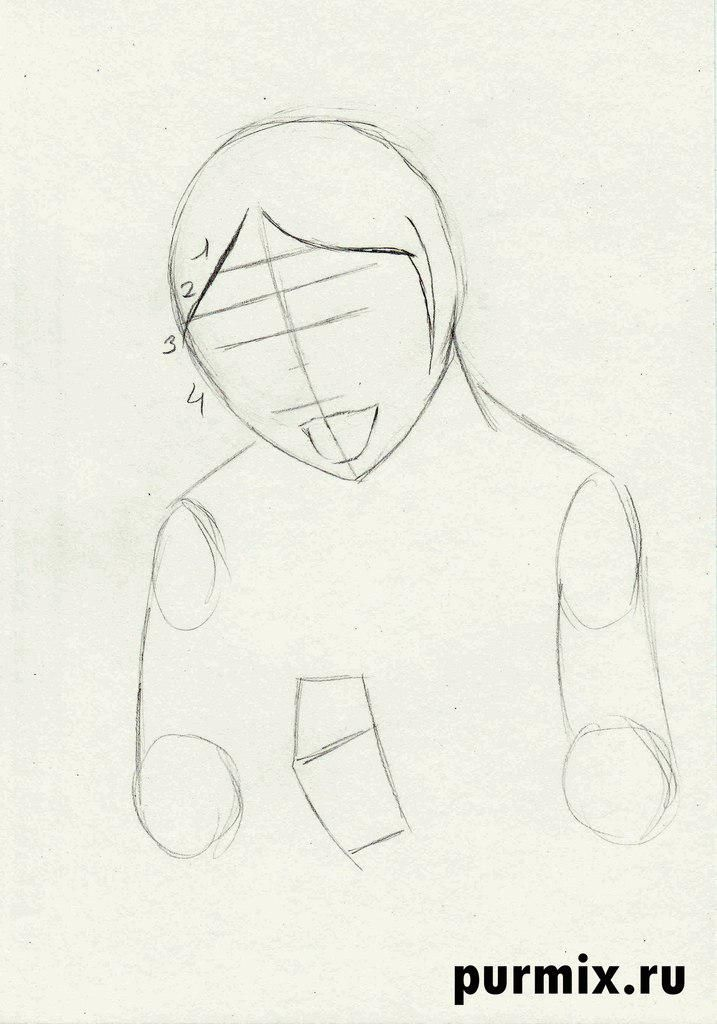 How to draw Kenaya of the person from the Brother a bear cub with a simple pencil 3