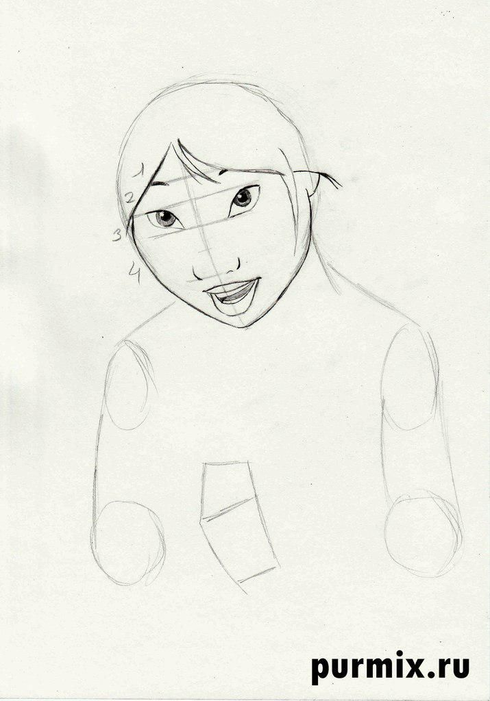 How to draw Kenaya of the person from the Brother a bear cub with a simple pencil 4