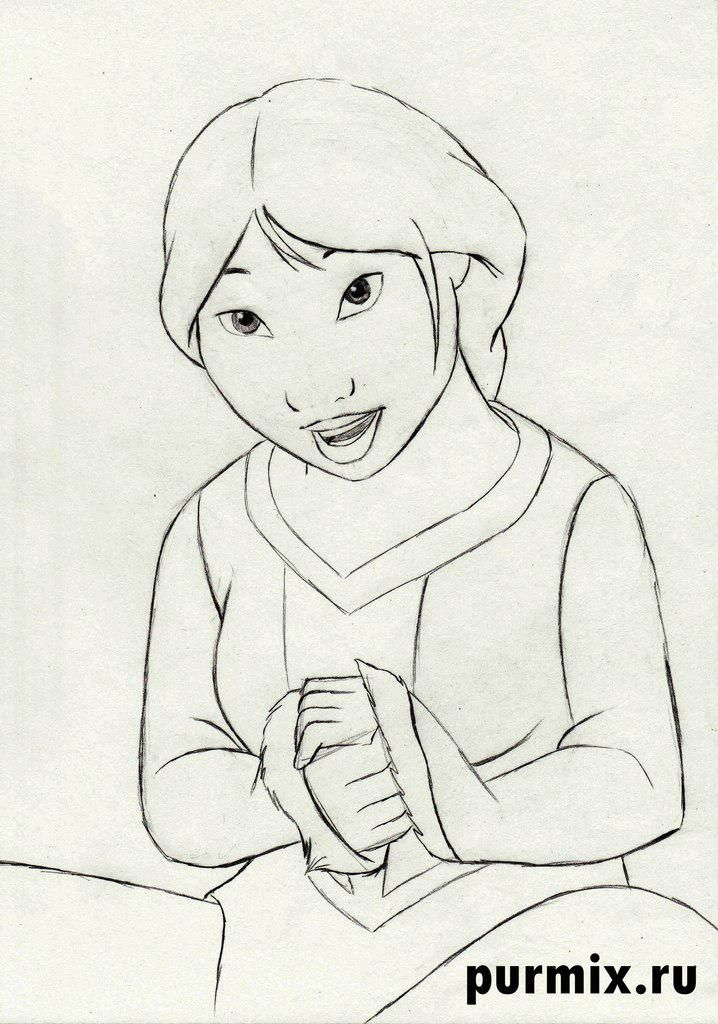 How to draw Kenaya of the person from the Brother a bear cub with a simple pencil 6