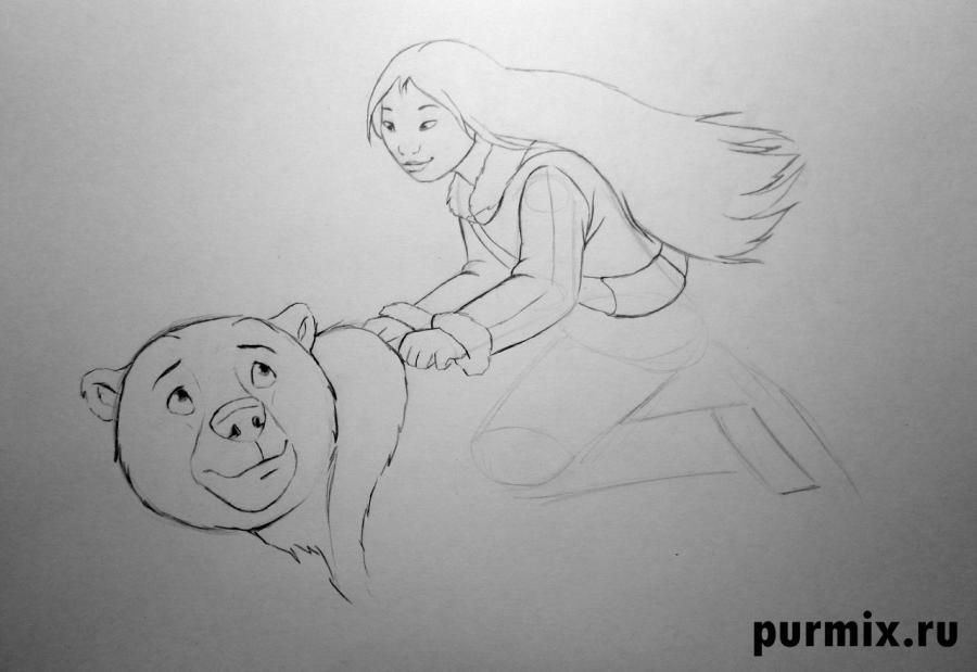How to draw to Kenaya and the Code from the Brother a bear cub with a simple pencil 6