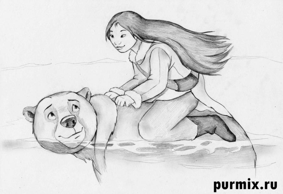 How to draw to Kenaya and the Code from the Brother a bear cub with a simple pencil 7