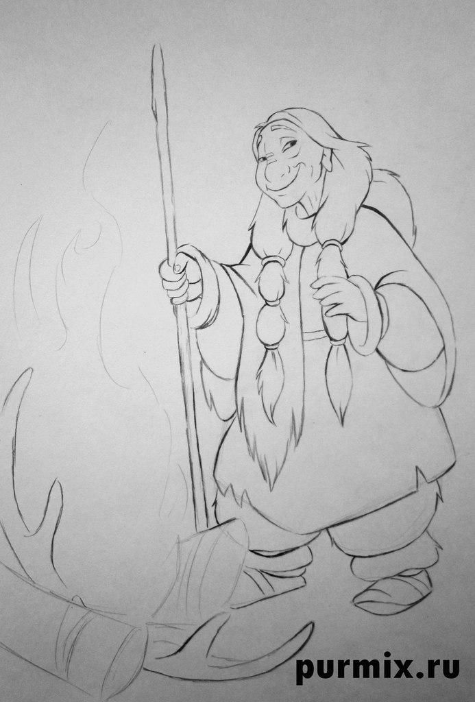 How to draw Kenaya from the animated film the Brother a bear cub 6