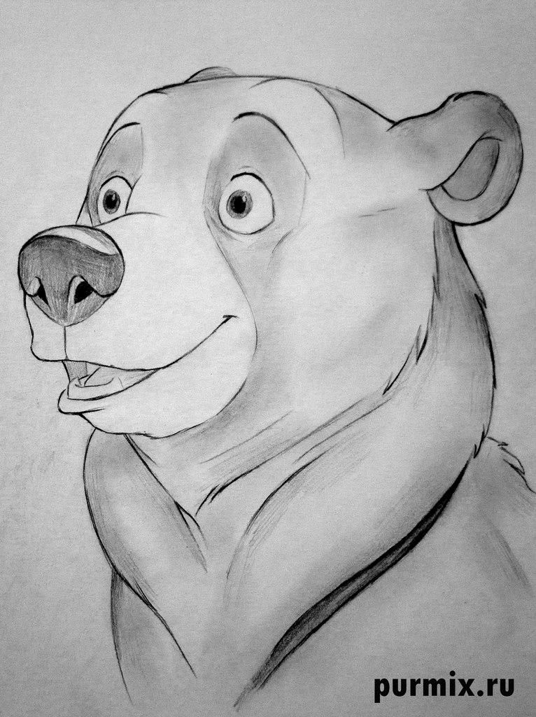 How to draw Kenaya from the animated film the Brother a bear cub