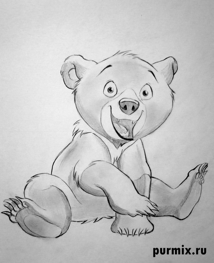 How to draw the Code from the Brother a bear cub with a pencil step by step