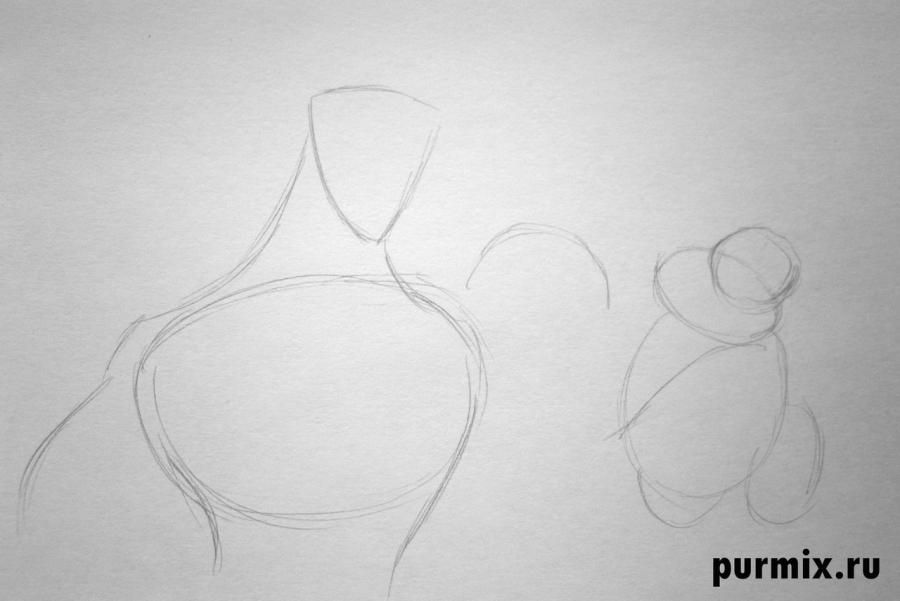 How to draw the Cinderella's stepmother with a simple pencil step by step 2