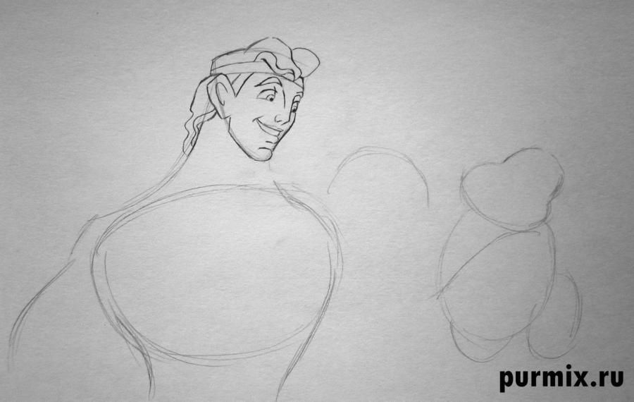 How to draw the Cinderella's stepmother with a simple pencil step by step 4