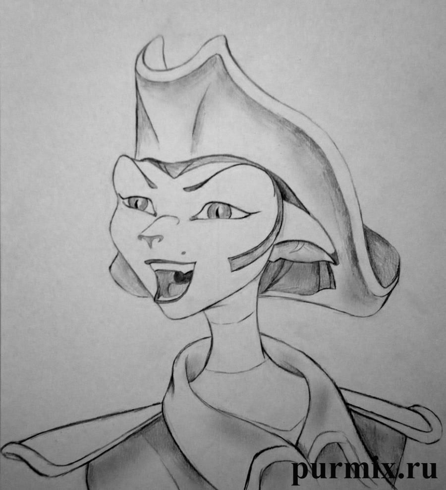 How to draw the captain Amelia from the animated film the Planet of treasures