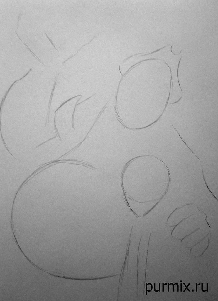 How to draw the captain Li Shanga from Mullan with a simple pencil step by step 2