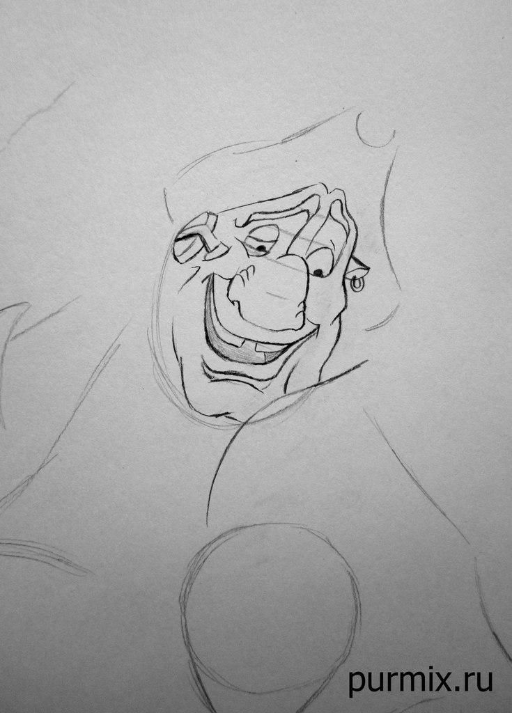 How to draw the captain Li Shanga from Mullan with a simple pencil step by step 4