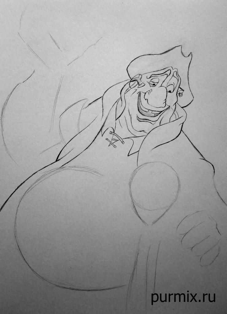 How to draw the captain Li Shanga from Mullan with a simple pencil step by step 5