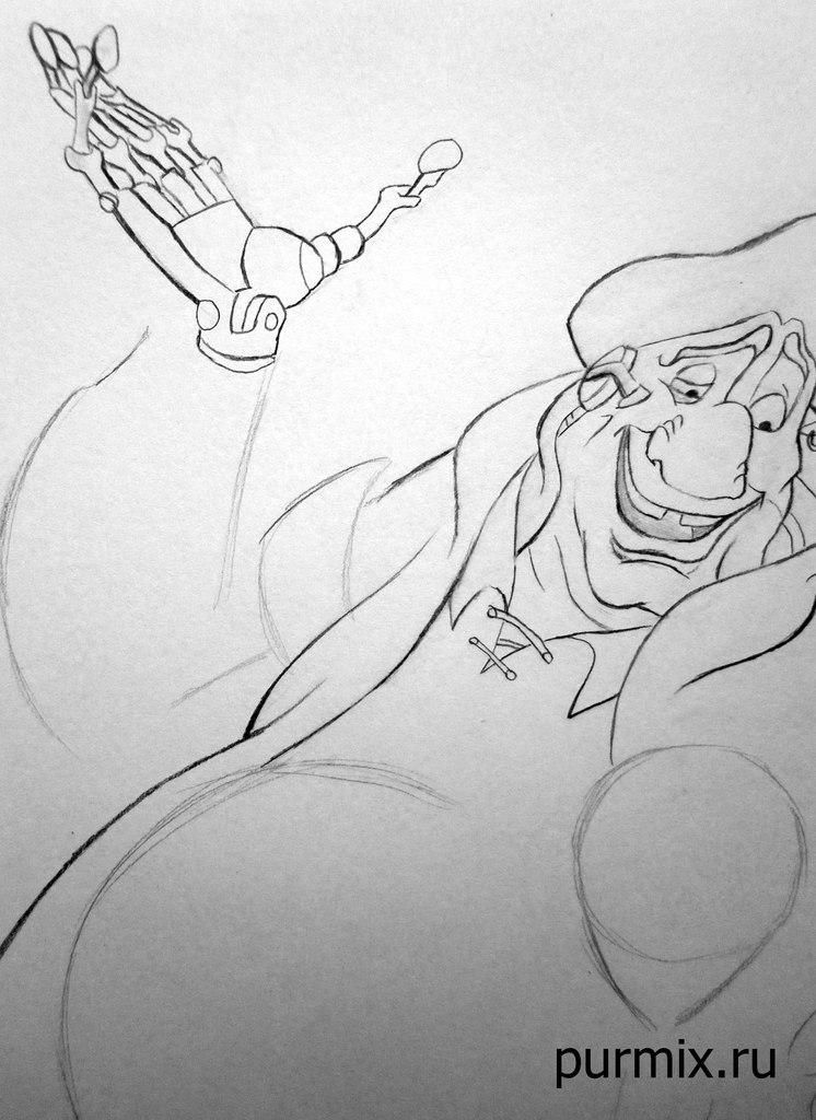 How to draw the captain Li Shanga from Mullan with a simple pencil step by step 6