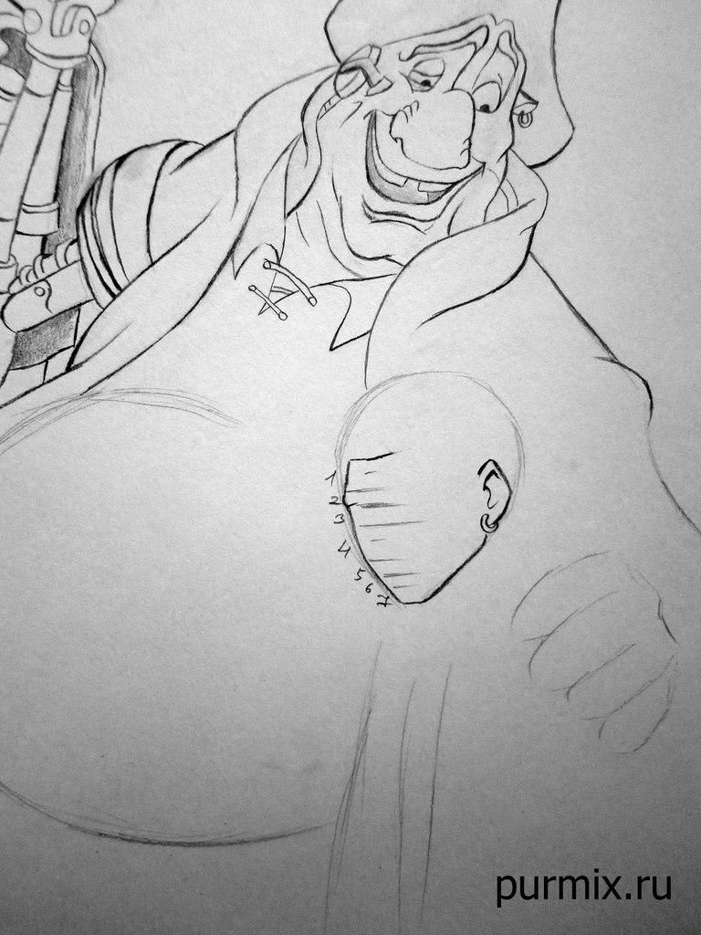 How to draw the captain Li Shanga from Mullan with a simple pencil step by step 8