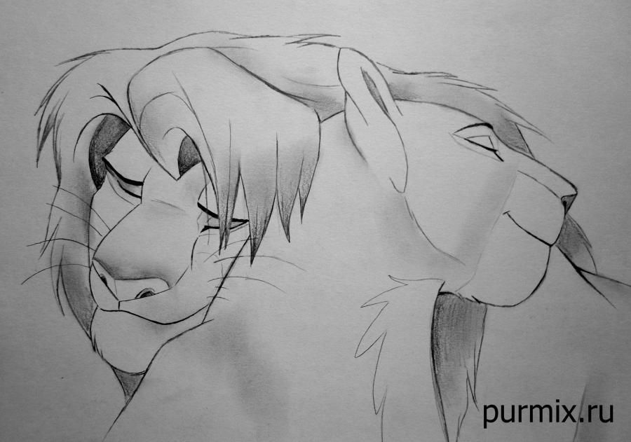 How to draw Nahla and Simbu from The Lion King with a simple pencil step by step
