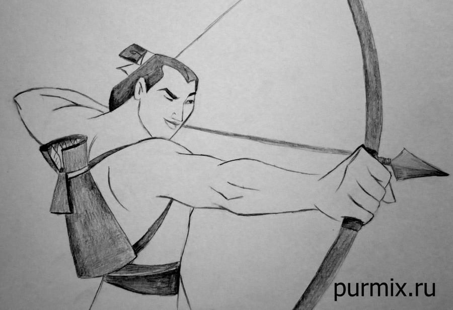 How to draw the captain Li Shanga from Mullan with a simple pencil step by step