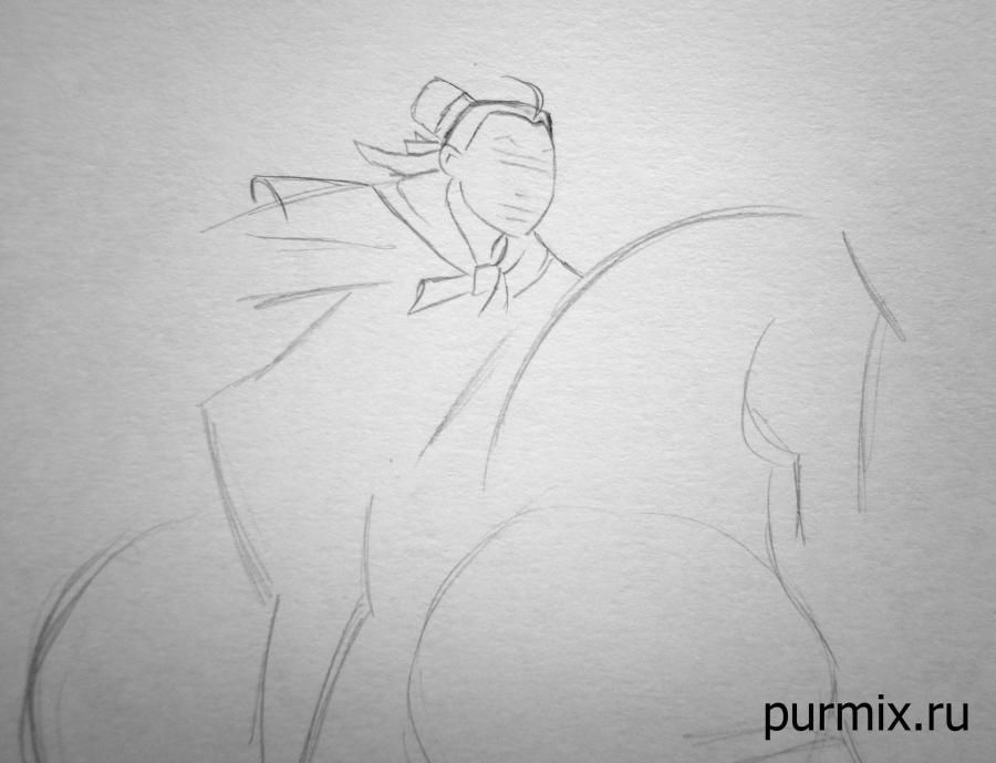 How to draw Jane and Tarzan with a pencil on paper step by step 3