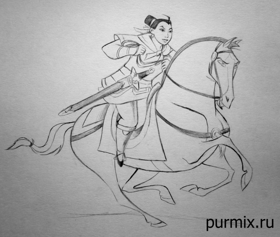 How to learn to draw Mullan on a horse a simple pencil step by step
