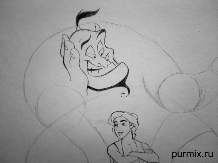How to draw Jane Porter and the monkey from Tarzan with a simple pencil step by step 11