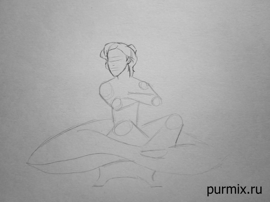 How to draw Jane Porter and the monkey from Tarzan with a simple pencil step by step 3