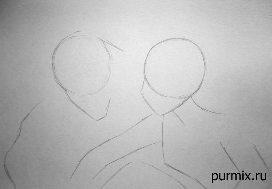 How to draw little Tarzan and his friends with a simple pencil step by step 2