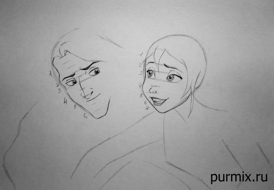 How to draw little Tarzan and his friends with a simple pencil step by step 4
