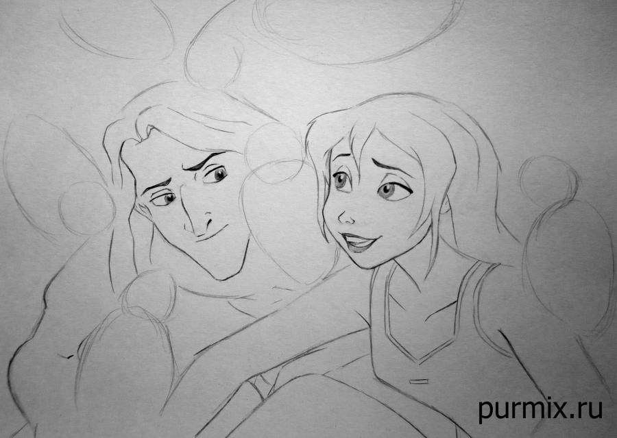 How to draw little Tarzan and his friends with a simple pencil step by step 5