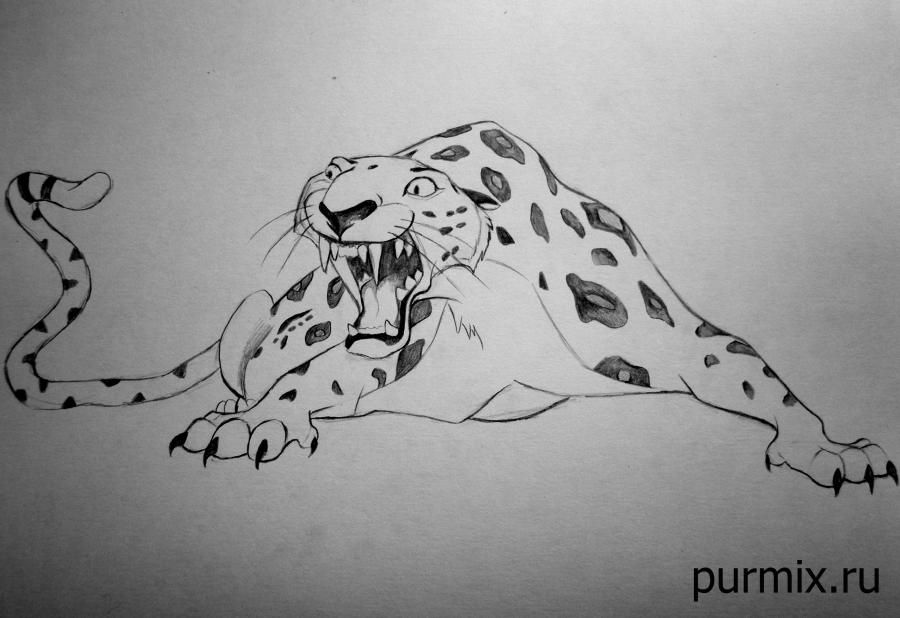How to draw Sabor's leopard from Tarzan with a simple pencil step by step