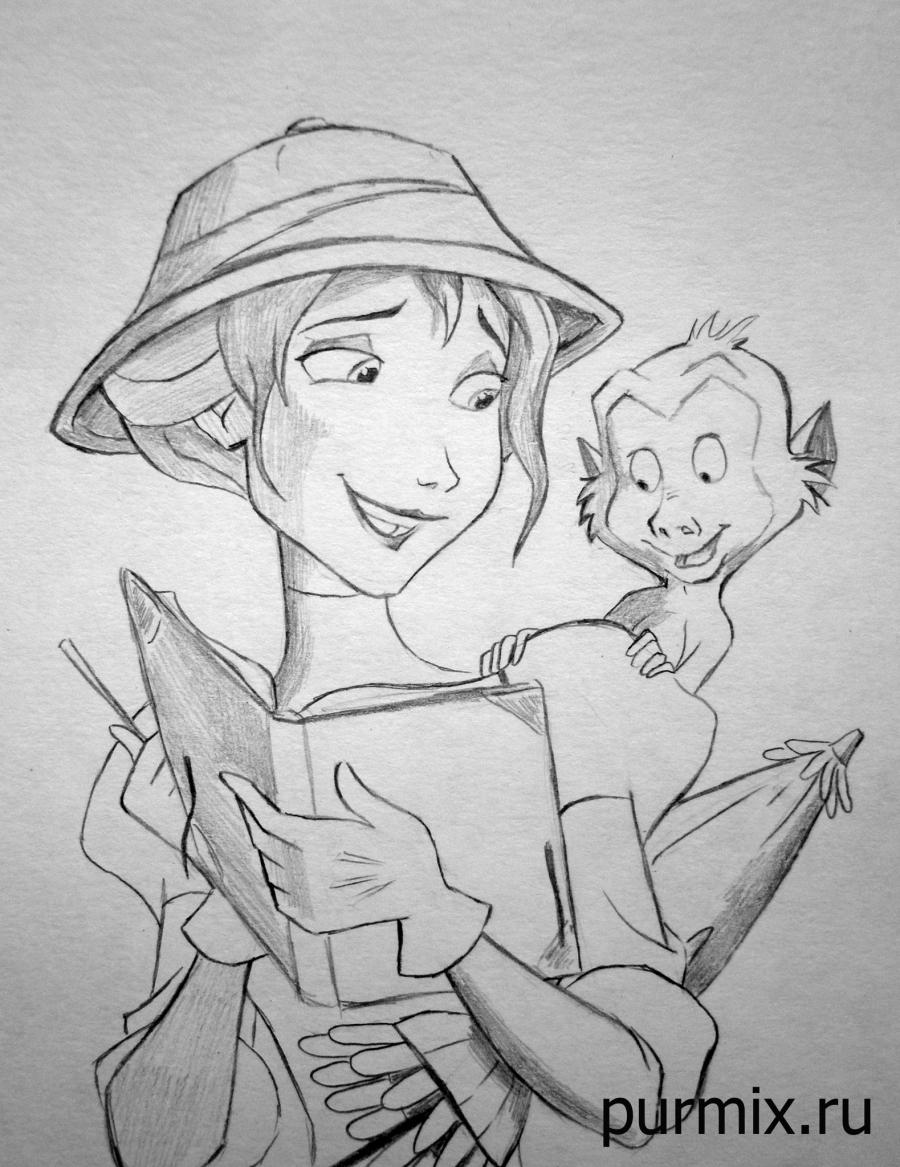 How to draw Jane Porter and the monkey from Tarzan with a simple pencil step by step