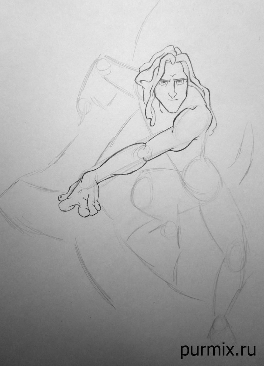 How to draw Esmeralda and Quasimodo with a simple pencil step by step 4
