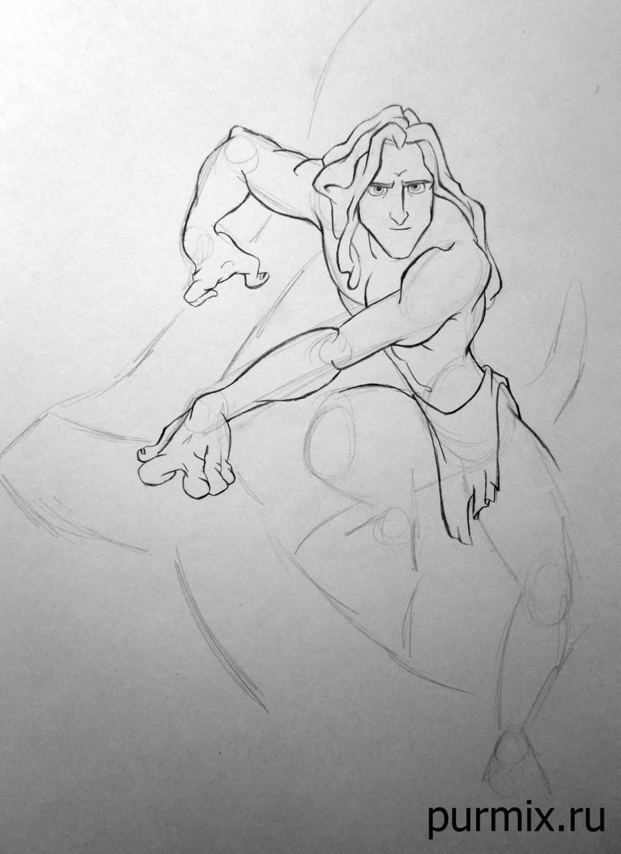 How to draw Esmeralda and Quasimodo with a simple pencil step by step 6