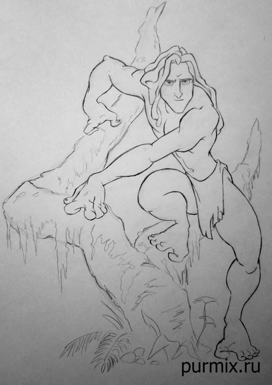 How to draw Tarzan with a simple pencil step by step
