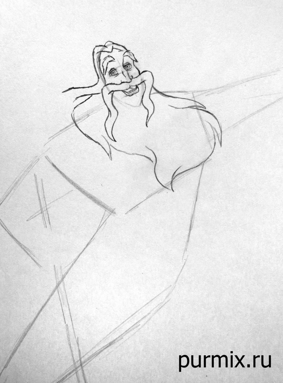 How to draw Frollo and Esmeralda from the Humpback and Notre Dame with a pencil step by step 2
