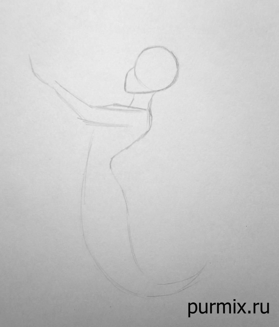How to draw Esmeralda and Dzhali from the Humpback from Notre Dame with a pencil step by step 2