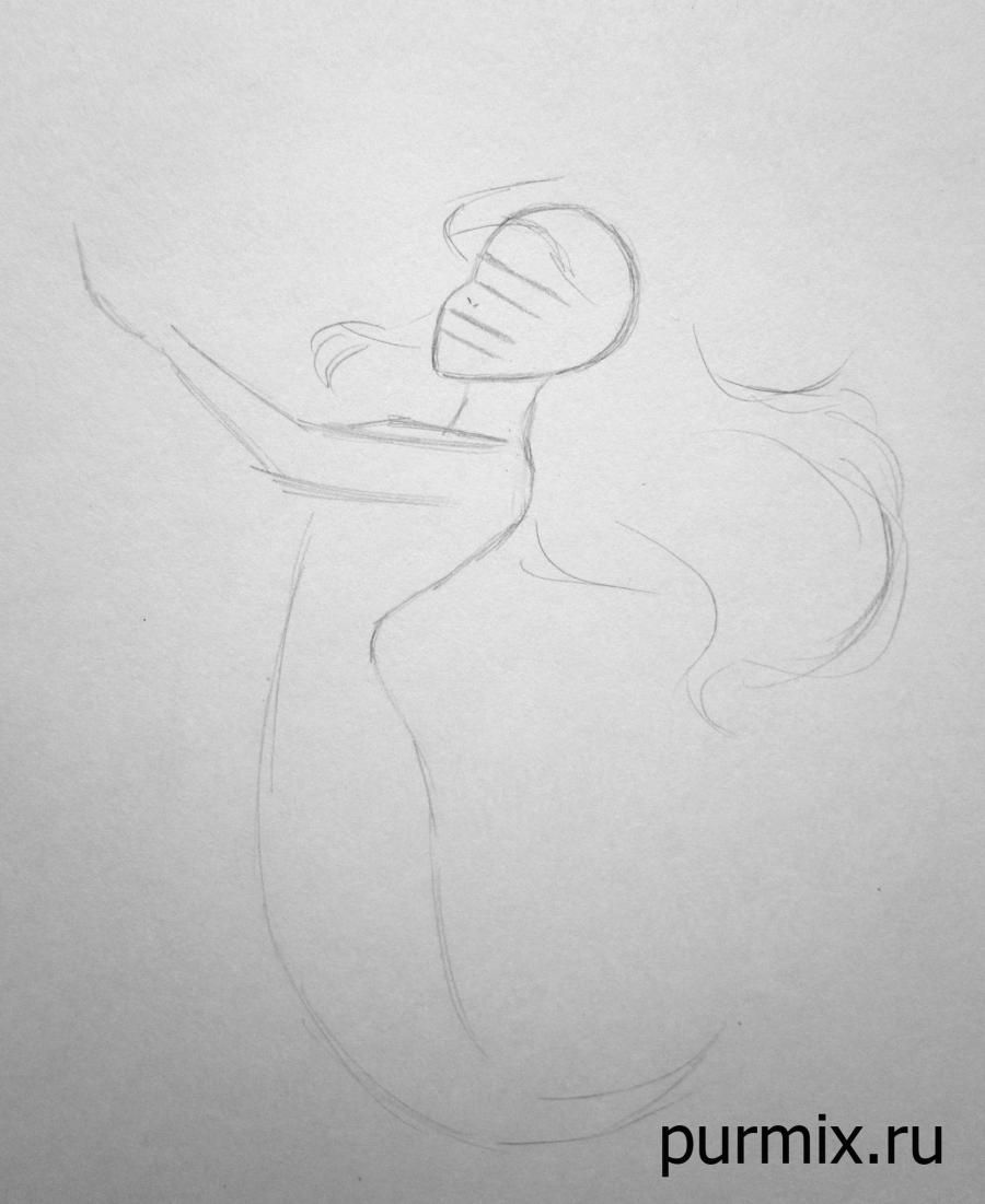 How to draw Esmeralda and Dzhali from the Humpback from Notre Dame with a pencil step by step 3