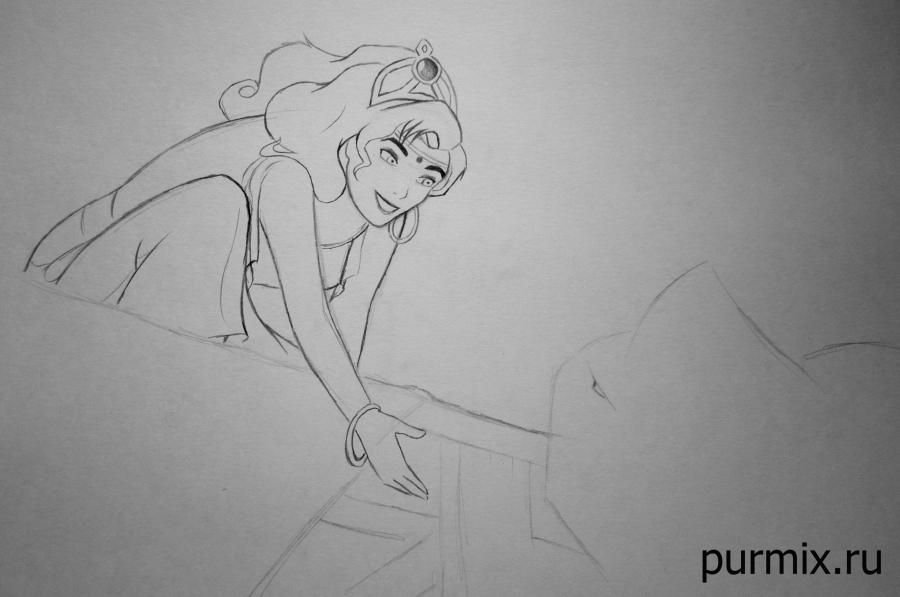How to draw Frollo from the Humpback from Notre Dame with a simple pencil 6