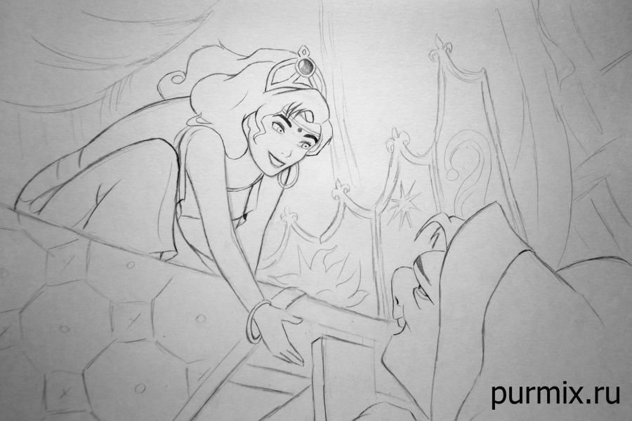 How to draw Frollo from the Humpback from Notre Dame with a simple pencil 9