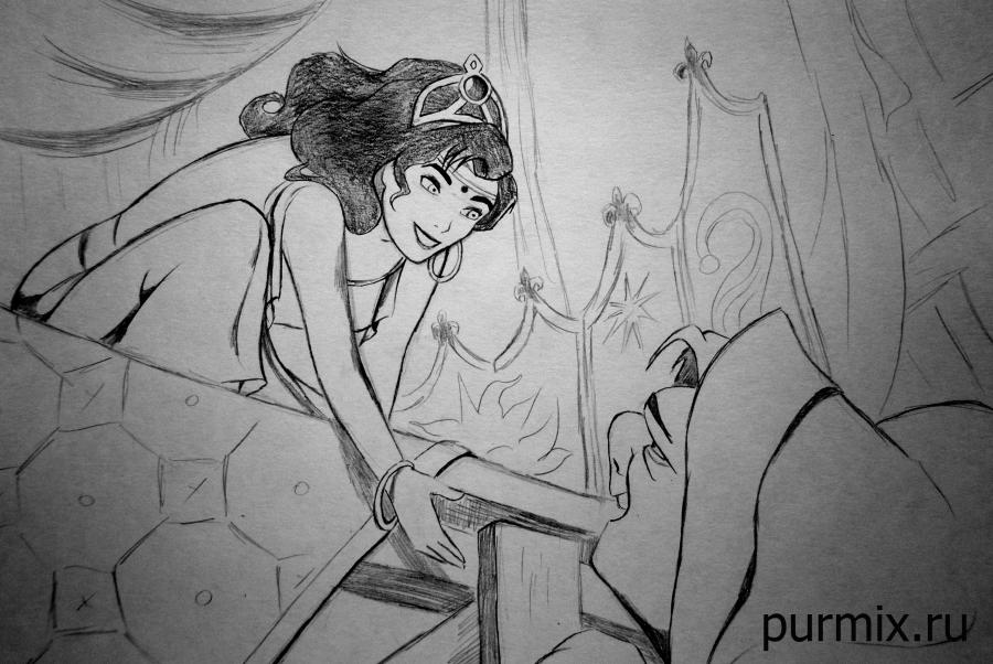 How to draw Esmeralda and Quasimodo with a simple pencil step by step