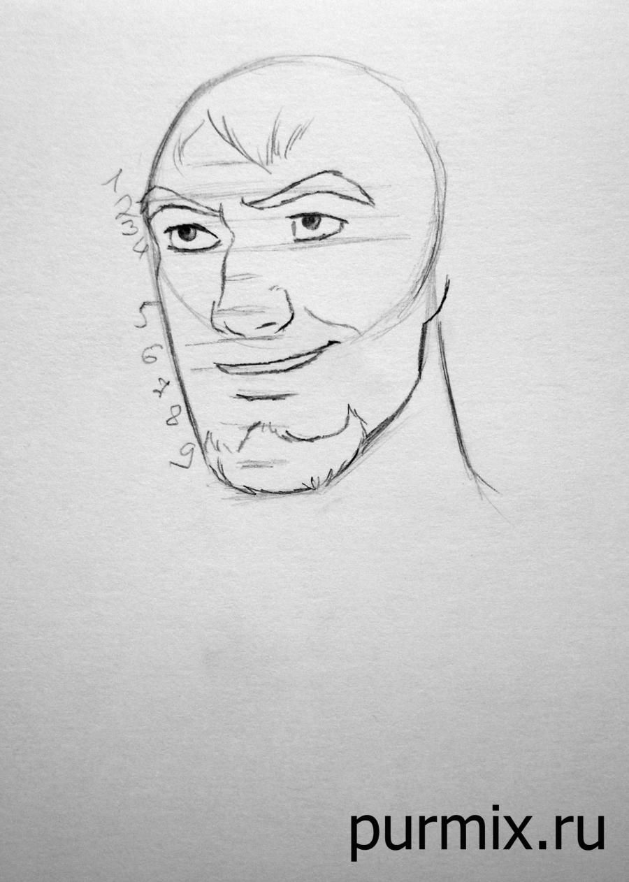 How to draw Quasimodo from the Humpback from Notre Dame with a simple pencil 4