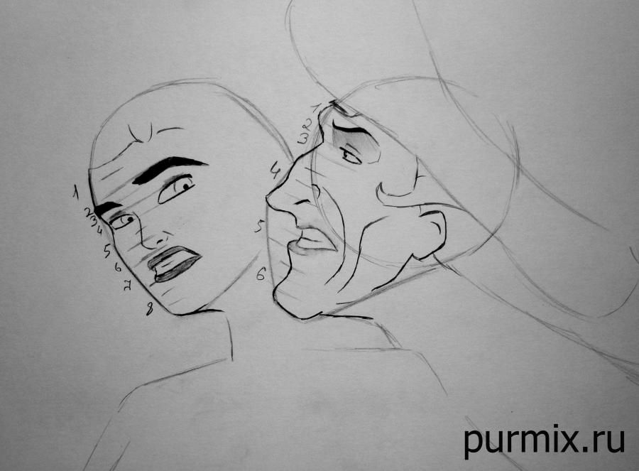 How to draw the grandmother Iva from Pokakhontas with a pencil step by step 4